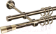 Карниз для штор АС ФОРОС Grace D16К/16Г + наконечники Конус золото (2.4м, антик) -