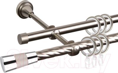 Карниз для штор АС ФОРОС Grace D16К/16Г + наконечники Конус хром (2м, сатин)