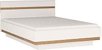 Полуторная кровать Anrex Linate 140/Typ 91-01 с ПМ (белый/сонома трюфель) -