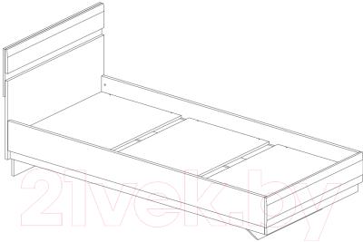 Односпальная кровать Anrex Linate 90/Typ 90 (белый/сонома трюфель)