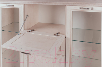 Шкаф с витриной Anrex Monako 2V2D1S (сосна винтаж/дуб анкона)