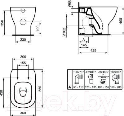 Унитаз напольный Ideal Standard Tesi AquaBlade T007701