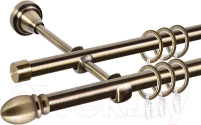 Карниз для штор АС ФОРОС Grace D16Г/16Г составной + наконечники Белуно (3.2м, антик)