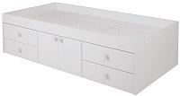 Односпальная кровать Polini Kids Simple 3100 Н с 4 ящиками (белый) -