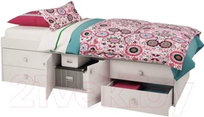 Односпальная кровать Polini Kids Simple 3100 Н с 4 ящиками (белый)