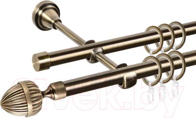 Карниз для штор АС ФОРОС Grace D16Г/16Г составной + наконечники Милано (3.2м, антик)