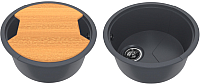Мойка кухонная KitKraken Duo Lake O-510.2B + разделочная доска (графит) -