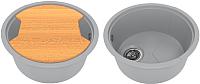 Мойка кухонная KitKraken Duo Lake O-510.2B + разделочная доска (серый) -