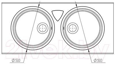 Мойка кухонная KitKraken Duo Lake O-510.2B + две разделочные доски (графит)