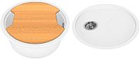 Мойка кухонная KitKraken Duo Spring C-510 + разделочная доска (белый) -