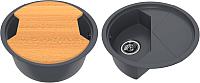 Мойка кухонная KitKraken Duo Stream C-510M + разделочная доска (графит) -