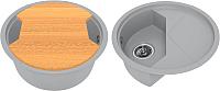 Мойка кухонная KitKraken Duo Stream C-510M + разделочная доска (серый) -