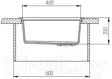 Мойка кухонная KitKraken Lake O-510 + разделочная доска (графит)