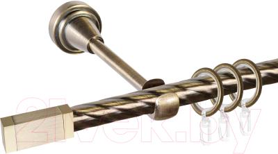 Карниз для штор АС ФОРОС Grace D16K составной + наконечники Квадро золото (2.8м, антик)