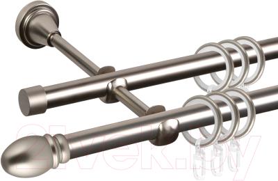 Карниз для штор АС ФОРОС Grace D16Г/16Г составной + наконечники Белуно (3.2м, сатин)