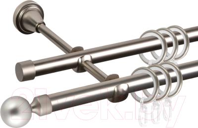 Карниз для штор АС ФОРОС Grace D16Г/16Г составной + заглушка Шар малый (3.2м, сатин)
