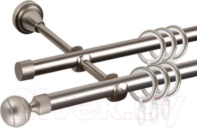 Карниз для штор АС ФОРОС Grace D16Г/16Г составной + наконечники Шар рифленый (3.2м, сатин)