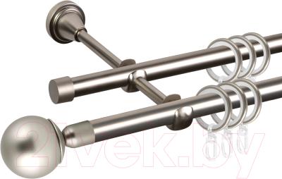Карниз для штор АС ФОРОС Grace D16Г/16Г составной + наконечники Шар простой (3.2м, сатин)