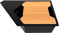 Мойка кухонная KitKraken River K-775 + разделочная доска (черный) -