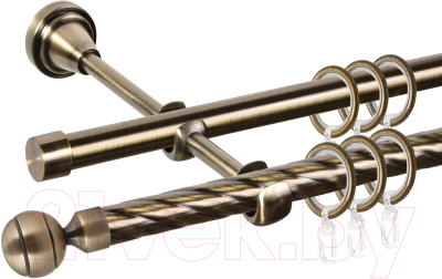 Карниз для штор АС ФОРОС Grace D16K/16Г составной + наконечники Шар рифленый (2.8м, антик)