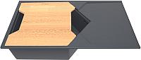 Мойка кухонная KitKraken Sea K-850 + разделочная доска (графит) -
