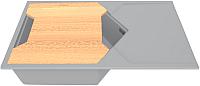 Мойка кухонная KitKraken Sea K-850 + разделочная доска (серый) -