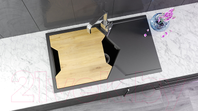 Мойка кухонная KitKraken Sea K-850 + разделочная доска (серый)