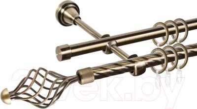 Карниз для штор АС ФОРОС Grace D16K/16Г составной + наконечники Ажур (3.2м, антик)