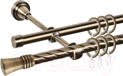 Карниз для штор АС ФОРОС Grace D16K/16Г составной + наконечники Арига (3.2м, антик)