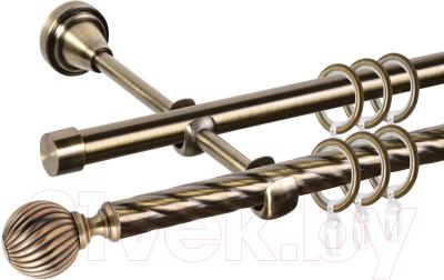 Карниз для штор АС ФОРОС Grace D16K/16Г составной + наконечники Орион (3.2м, антик)