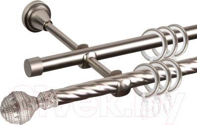 Карниз для штор АС ФОРОС Grace D16K/16Г составной + наконечники Ампир (3.2м, сатин)