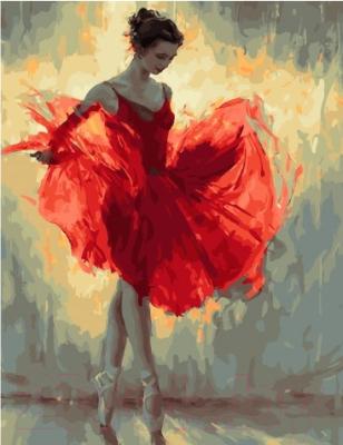 Картина по номерам Picasso Балерина в красном платье