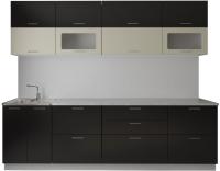 Готовая кухня Артём-Мебель Яна-Ш СН-114 со стеклом МДФ 2.6м (мокка глянец/слоновая кость) -