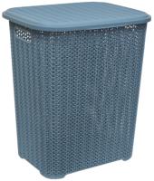Корзина для белья Violet Вязь / 206036 (60л, голубая норка) -