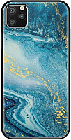 Чехол-накладка Deppa Glass Case для iPhone 11 Pro Max / 87267 (голубой агат) -