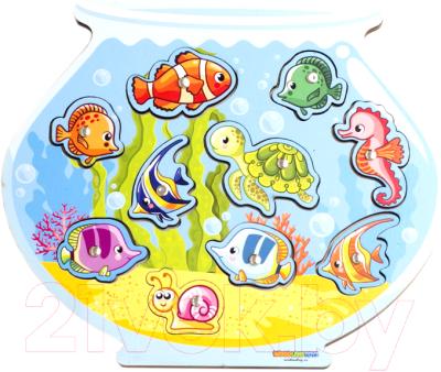 Развивающая игра WoodLand Toys Аквариум. Магнитная рыбалка / 062201