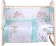 Комплект постельный в кроватку Alis Любящие птенчики 6 (бязь, мятный) -