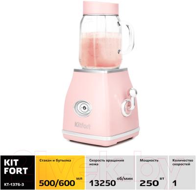 Блендер стационарный Kitfort KT-1376-3 (розовый)
