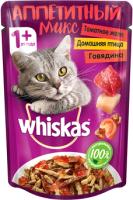 Корм для кошек Whiskas Аппетитный микс с домашней птицей и говядиной в томатном желе (85г) -