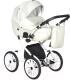 Детская универсальная коляска INDIGO Mio Plus 14 2 в 1 (Mi 01, белая кожа/белый узор) -