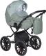 Детская универсальная коляска INDIGO Mio Plus 14 2 в 1 (Mi 06, шалфей кожа/зеленый узор) -