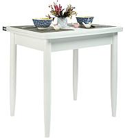 Обеденный стол Рамзес Ломберный ЛДСП 60x80 (белый текстурный/ноги конусные белые) -