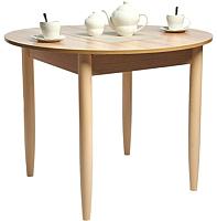 Обеденный стол Рамзес Раздвижной круглый ЛДСП 94-124x94 (дуб сонома светлый/ноги конусные слоновая кость) -