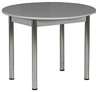 Обеденный стол Рамзес Раздвижной круглый ЛДСП 94-124х94 (серый/хром) -