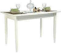 Обеденный стол Рамзес Раздвижной прямоугольный ЛДСП 110-140x70 (белый текстурный/ноги конусные белые) -
