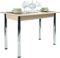 Обеденный стол Рамзес Раздвижной прямоугольный ЛДСП 110-140x70 (шимо светлый/хром) -