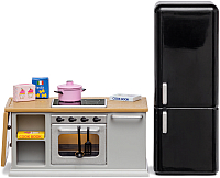 Комплект аксессуаров для кукольного домика Lundby Кухонный остров и холодильник / LB-60201800 -