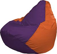 Бескаркасное кресло Flagman Груша Мега Super Г5.1-33 (фиолетовый/оранжевый) -
