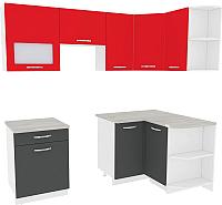 Готовая кухня ВерсоМебель Эко-6 1.2x2.2 правая (антрацит/красный чили) -
