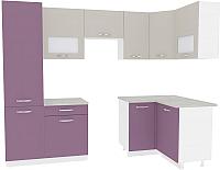 Готовая кухня ВерсоМебель Эко-6 1.2x2.7 правая (виола/кашемир) -